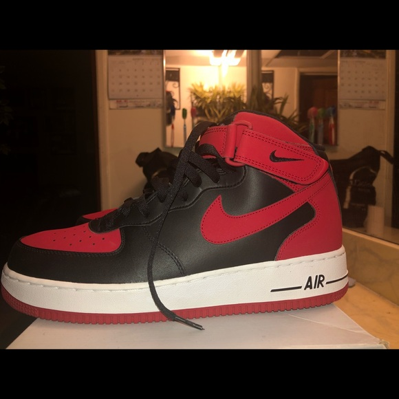 quality design ad66a c2755 Nike Air Force 1 (Mid) black/gym red/white